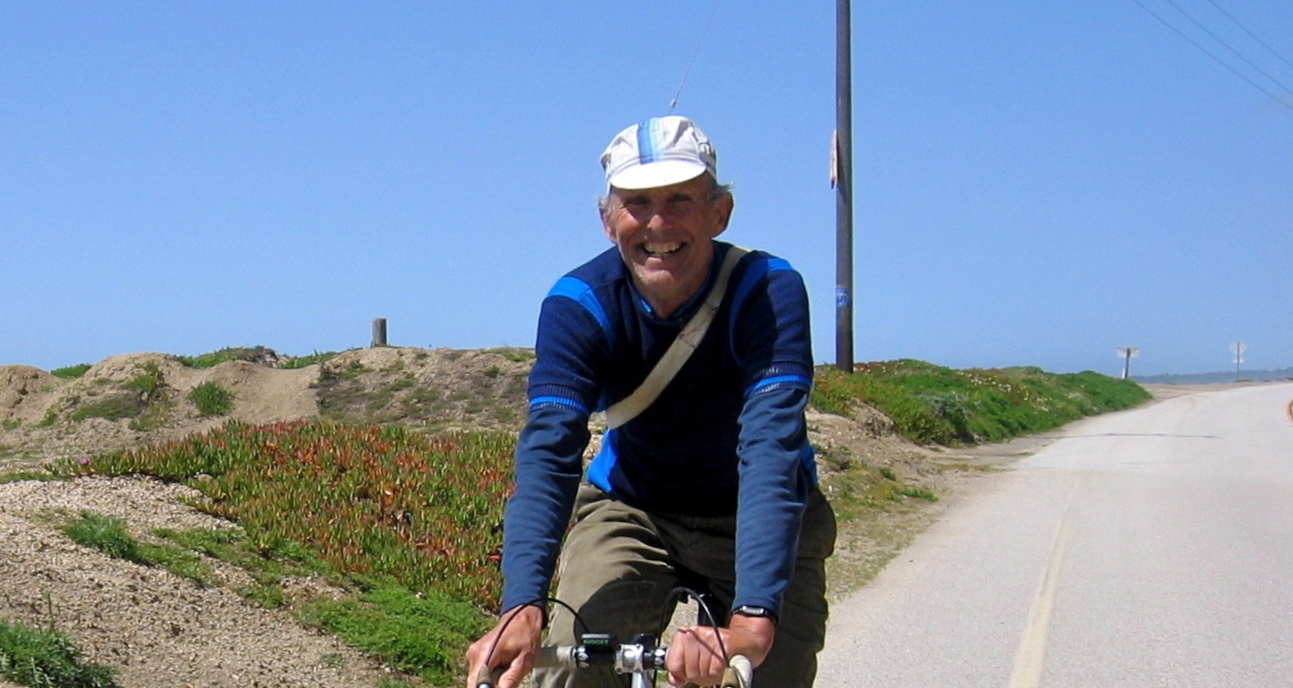 Jobst Brandt enjoys one of his favorite local rides down the coast on CA1 near Waddell State Beach, April 9, 2005.